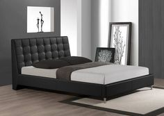 Baxton Studio Zeller Black Modern Bed with Upholstered Headboard - Queen Size