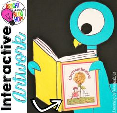 Create interactive artwork for your reading bulletin board. The book covers change as you move on to the next author study! Bird Bulletin Boards, Reading Bulletin Boards, Bulletin Board Display, Classroom Bulletin Boards, Classroom Decor, Classroom Design, Kindergarten Classroom, Grade 1 Reading, Reading Books