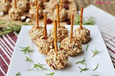Mini Cheese Ball Bites ~ easy appetizers featuring dried cranberries, blue cheese, toasted pecans, and pretzel skewers Appetizer Dips, Yummy Appetizers, Appetizers For Party, Appetizer Recipes, Cheese Recipes, Cheese Ball Bites Recipe, Cheese Bites, Cream Cheese Ball, Blue Cheese
