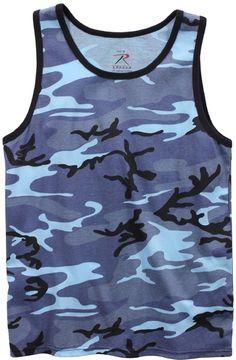 Mens Sky Blue Camouflage Tank Top - Camo Sleeveless Tanktop T-Shirt Rothco 67705