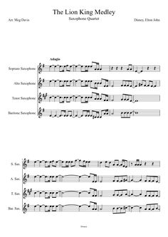 Sheet music made by megzyyd18 for 4 parts: Soprano Saxophone, Alto Saxophone, Tenor Saxophone, Baritone Saxophone