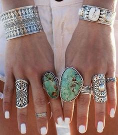 bohemian vintage jewelry, Bohemian silver rings with turquoise stones http://www.justtrendygirls.com/bohemian-silver-rings-with-turquoise-stones/