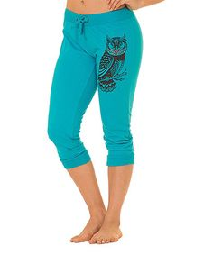 Another great find on #zulily! Blue Rhinestone Owl Capri Sweatpants - Women & Plus #zulilyfinds