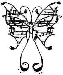 Music tattoo with butterfly. If I'm getting this, I'd have to draw it better.(: