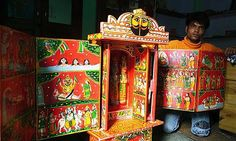 Kaavad ~ A Wooden Shrine (Red - 28 cm) Red, Crafts, Painting, Manualidades, Painting Art, Paintings, Handmade Crafts, Craft, Painted Canvas