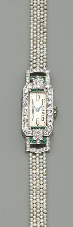 Pearl, emerald and diamond watch