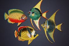 (4), DECORATE YOUR BATH WITH TROPICAL FISH WALL HANGINGS, REALISTIC, 6 inch #TropicalFishBathDecor