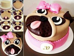 """How cute is this pug cake ! Your kids will love it and enjoy to help with , you will earn much"""" wow"""" with this super cute cake at your party ! I like cake decorate ideas, because your can… Continue Reading → Ninja Birthday Cake, 11th Birthday, Birthday Cakes, Pug Cake, Chicken Cake, Diy Crafts For Kids Easy, Chocolate Sponge Cake, Corn Cakes, Marshmallow Fondant"""