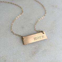 Short Gold Bar Necklace // Hope // www.nellenetree.com