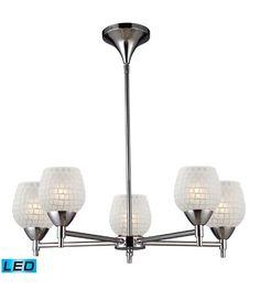 ELK 10155/5PC-WHT-LED Celina LED 28 inch Polished Chrome Chandelier Ceiling Light in White Mosaic Glass #LightingNewYork