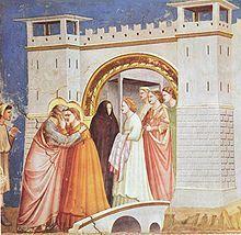 Joaquín y Ana se encuentran ante la Puerta Dorada es un tema relativamente frecuente en el arte cristiano. Procedente de una escena de los evangelios apócrifos (especialmente en el Protoevangelio de Santiago), forma parte de algunas series de la vida de la Virgen.