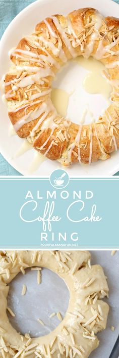 This Almond Coffee Cake Ring or tea ring is a slightly sweet yeast bread filled with almond paste and cream cheese and made into a wreath-shaped pastry. Its baked until golden and then drizzled with icing. This recipe feeds a crowd and is perfect for bru Cupcakes, Cupcake Cakes, Cake Cookies, Cupcake Recipes, Baking Recipes, Donut Recipes, Kouign Amman, Fun Desserts, Delicious Desserts