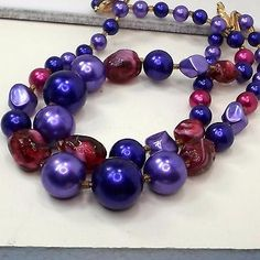 Necklace-JAPAN-2-strand-purple-and-raspberry-beads-14-1-2-plus
