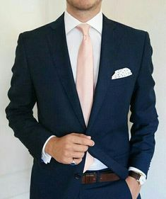 The Blue Suit Collection Blush & Navy Groom Attire Blue Suit Wedding, Wedding Men, Wedding Suits, Mens Fashion Suits, Mens Suits, Dark Blue Suit, Mode Costume, Groom Attire, Groom Suits