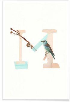 Floral Alphabet M als Premium Poster von Sarah von der Heide | JUNIQE