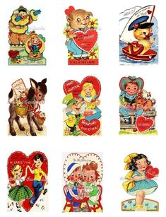 """Retro Valentine Cards Cotton Fabric Quilt Blocks (9) @ 2X3"""" on 8.5X11"""" Sheet #YOURSTRULY"""
