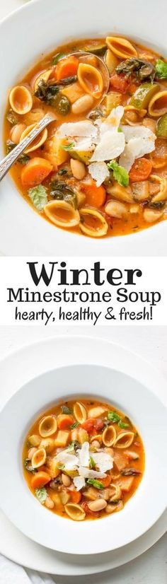 Winter Minestrone Soup ~ hearty, healthy and loaded with fresh seasonal vegetables. Featuring Chickapea Pasta, Swiss Chard, onion, carrots, celery, zucchini, potato and cannellini beans. Freezes beautifully! www.savingdessert.com #savingroomfordessert #minestrone #soup #wintersoup #healthysoup #vegetablesoup