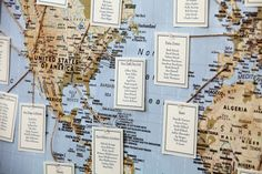 Giant world map w/ different countries/cities as the table assignments. featured farm wedding | JAIDA + JOSH