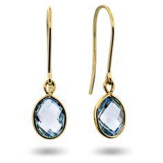 Something blue? Ørepynt i gull med blå topas - Juvelen gullsmed
