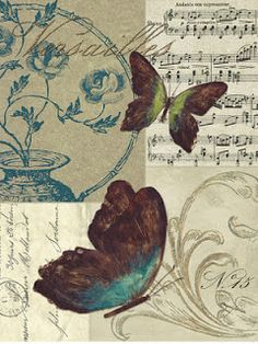25 New Ideas for vintage paper collage free images Decoupage Vintage, Decoupage Paper, Vintage Paper, Butterfly Images, Butterfly Art, Paper Butterflies, Beautiful Butterflies, Vintage Labels, Vintage Postcards