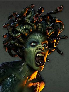 """In Greek mythology Medusa (""""guardian, protectress"""")[1] was a monster, a Gorgon, generally described as having the face of a hideous human female with living venomous snakes in place of hair. Gazing directly into her eyes would turn onlookers to stone. Most sources describe her as the daughter of Phorcys and Ceto,[2] though the author Hyginus (Fabulae, 151) interposes a generation and gives Medusa another chthonic pair as parents."""