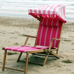 1920's steamer #deckchair re-upholstered in fab pink and white, complete with pompoms. available to hire from Coastalcreatives