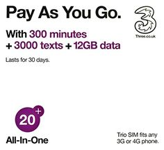 All- in-One £20 - Get 3000 UK texts and 300 UK minutes plus 12GB of data for 30 days use Feel At Home in the #following 42 destinations! #Australia Austria Belgiu...