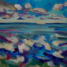 Morning Walk on the Beach 5x5 oil on canvas $75, painting by artist Elizabeth Fraser