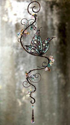 Gemstone and Swarovski Crystal Suncatcher by Cathy Heery of Intrinsic . Butterfly Gemstone and Swarovski Crystal Suncatcher by Cathy Heery of Intrinsic . - -Butterfly Gemstone and Swarovski Crystal Suncatcher by Cathy Heery of Intrinsic . Wire Crafts, Jewelry Crafts, Cd Crafts, Wire Wrapped Jewelry, Wire Jewelry, Jewellery Box, Copper Jewelry, Boho Jewelry, Bridal Jewelry
