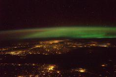 Northern Europe under a green electron cloud - Kaliningrad & Gdansk in front, Copenhagen, Oslo, & Stockholm in back