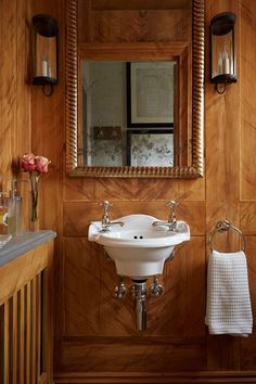 Small Panelled Bathroom - Bathroom Design Ideas (houseandgarden.co.uk) - It's a thought to consider, ties in with library theme.