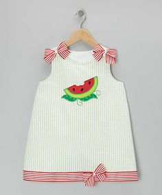 Green Watermelon Seersucker Dress by Wiggles and Giggles