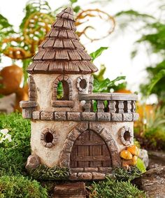 Take a look at this Solar Lighted Castle Figurine today! Clay Fairy House, Gnome House, Mini Fairy Garden, Fairy Garden Houses, Miniature Fairy Gardens, Miniature Houses, Clay Houses, Paper Houses, Fairy Crafts