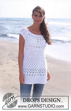 Lovely in lace / DROPS - free knitting patterns by DROPS design DROPS Long top with lace pattern in saffron Free patterns by DROPS Design.Beginner Friendly Top Down Knitting Pattern Cropped Sweater Drops Design, Crochet Shirt, Knit Crochet, Knitting Patterns Free, Free Knitting, Crochet Patterns, Top Pattern, Free Pattern, Summer Knitting