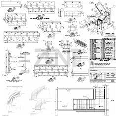 Zent design 2d escaleras de metalicas planos civil for Escaleras metalicas planos