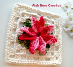 \ PINK ROSE CROCHET /: Granny Square