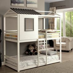 Shop for Furniture of America Scouter Cottage Style White Twin over Twin Bunk Bed. Get free delivery at Overstock - Your Online Furniture Outlet Store! Get in rewards with Club O! White Bunk Beds, Modern Bunk Beds, Metal Bunk Beds, Safe Bunk Beds, Full Bunk Beds, Kids Bunk Beds, Bunk Bed Playhouse, House Bunk Bed, Bunk Bed Plans