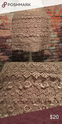 Lace Mini Skirt Cute champagne mini skirt that is perfect for a night out. Skirts Mini