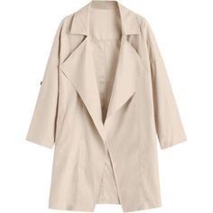 Drop Shoulder Lapel Trench Coat ($27) ❤ liked on Polyvore featuring outerwear and coats