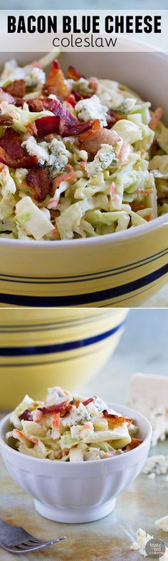 Coleslaw does not have to be boring, and this Bacon Blue Cheese Coleslaw proves that!! Crunchy cabbage, salty bacon and bold blue cheese bring this coleslaw to a new level.: