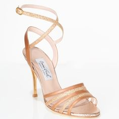 www.felinashoes.com Argentine Tango Shoes from Comme il Faut shoes. Strappy front, sandals, open heel cage. Copper leather, copper lame, gold stiletto, gold leather sole. Sizes 4 (34), Size 5 (35), Size 6 (36), Size 7 (37), Size 8 (38), Size 9 (39), Size 10 (40), Size 11 (41)