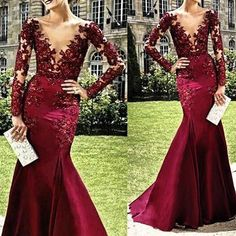 Burgundy Long Sleeves Seen Through Deep V Neck Sexy Prom Dresses, PM0035 The dress is fully lined, 4 bones in the bodice, chest pad in the bust, lace up back or zipper back are all available. This dre