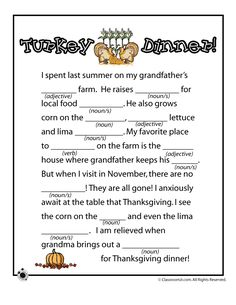 Two printable Thanksgiving mad libs, great for November school fun as well as a car activity family road trips! Thanksgiving Mad Lib, Thanksgiving Activities, Holiday Activities, Activities For Kids, Football Thanksgiving, Thanksgiving Games For Adults, Thanksgiving Placemats, Thanksgiving Parties, Thanksgiving Decorations