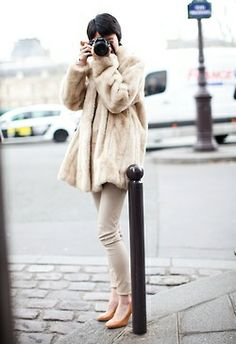 Cream outfit.
