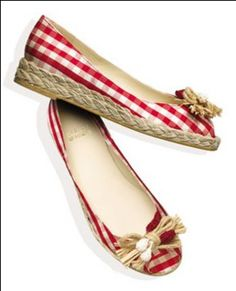 braided straw and gingham espadrilles...