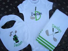 New born Golf themed set - Personalized golf bib, burp cloth & bodysuit set