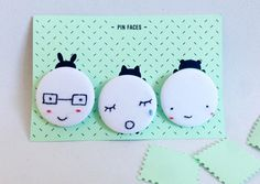 Hand embroidered little faces badges set by lepetitpot on Etsy, $12.75
