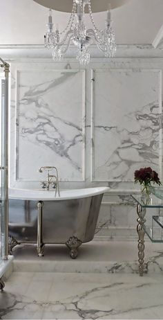 Kendall Wilkinson Design - bathrooms - marble tiled floors, marble floor tile, marble tiled bathroom, gray and white marble, marble wainscot. White Marble Bathrooms, Big Bathrooms, Beautiful Bathrooms, Master Bathroom, Luxury Bathrooms, Bathroom Gray, Granite Bathroom, Stone Bathroom, Bad Inspiration