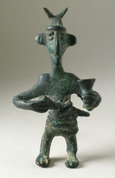 Figure of a Man with Horns  Iran, Luristan, Luristan bronzes, 1000-650 B.C. Sculpture Bronze