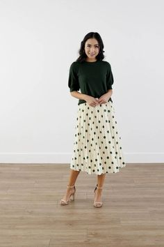 Modest Clothing, Ivory GreenPleated Polka Dot Skirt, Modest Clothes Modest Skirts, Modest Outfits, Modest Fashion, Skirt Fashion, Modest Clothing, Work Outfits, My Outfit, Midi Skirt, Polka Dots